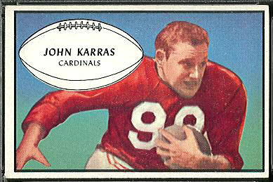 John Karras 1953 Bowman football card