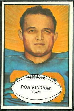 Don Bingham 1953 Bowman football card