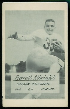 Farrell Albright 1953 Oregon football card