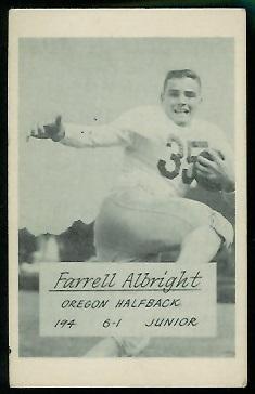 Farrell Albright 1953 Oregon football card