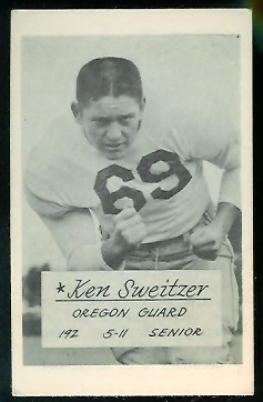 Ken Sweitzer 1953 Oregon football card