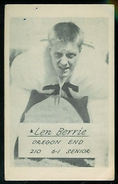 Len Berrie 1953 Oregon football card