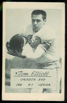 Tom Elliott 1953 Oregon football card