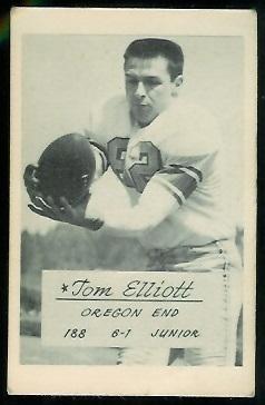 Tom Elliott 1953 Oregon football card