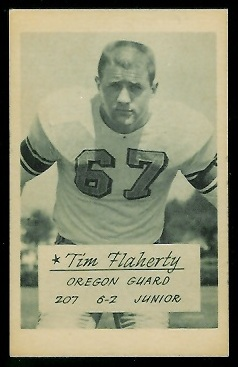 Tim Flaherty 1953 Oregon football card