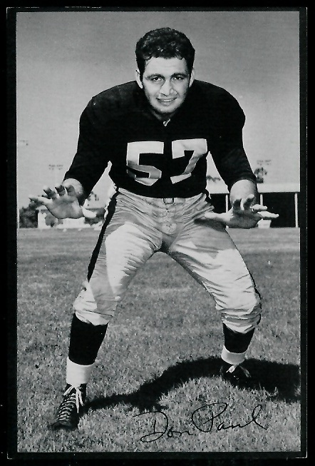 Don Paul 1953 Rams Team Issue football card