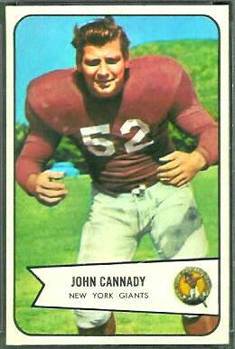 John Cannady 1954 Bowman football card