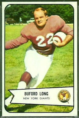 Buford Long 1954 Bowman football card