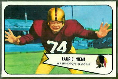 Laurie Niemi 1954 Bowman football card