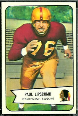 Paul Lipscomb 1954 Bowman football card