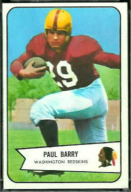 Paul Barry 1954 Bowman football card