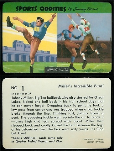 Johnny Miller 1954 Quaker Sports Oddities football card