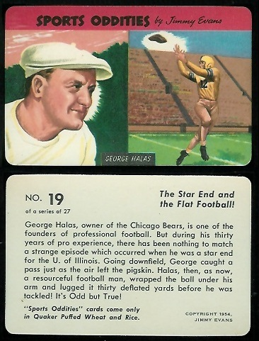 George Halas 1954 Quaker Sports Oddities football card