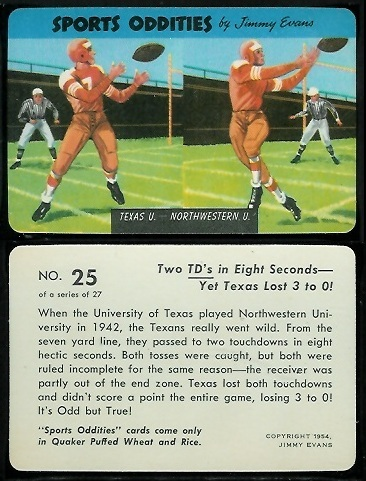 Texas - Northwestern 1954 Quaker Sports Oddities football card