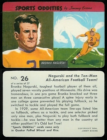 Bronko Nagurski 1954 Quaker Sports Oddities football card