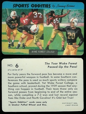 Wake Forest College 1954 Quaker Sports Oddities football card