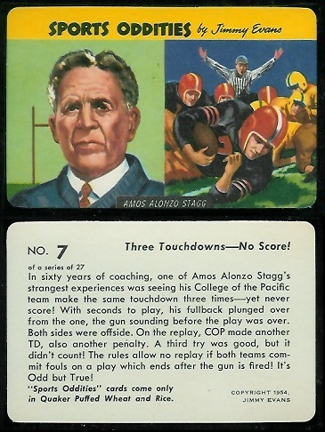 Amos Alonzo Stagg 1954 Quaker Sports Oddities football card