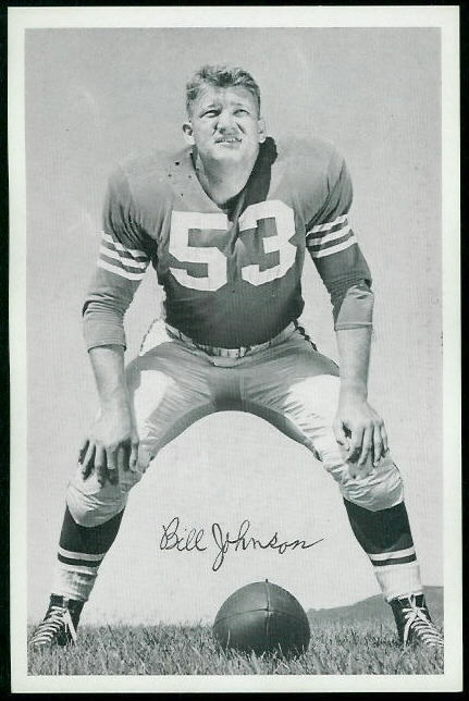 Bill Johnson 1955 49ers Team Issue football card