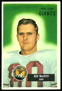 Ken MacAfee 1955 Bowman football card