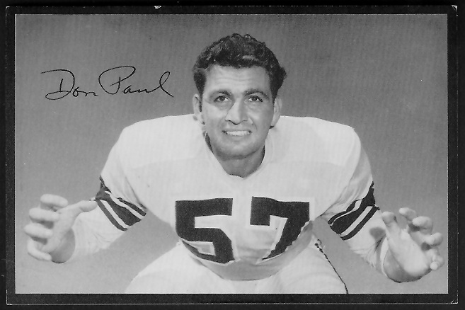Don Paul 1955 Rams Team Issue football card