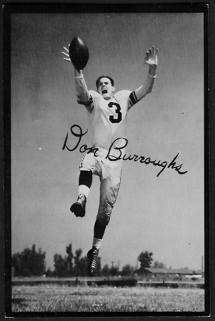 Don Burroughs 1955 Rams Team Issue football card