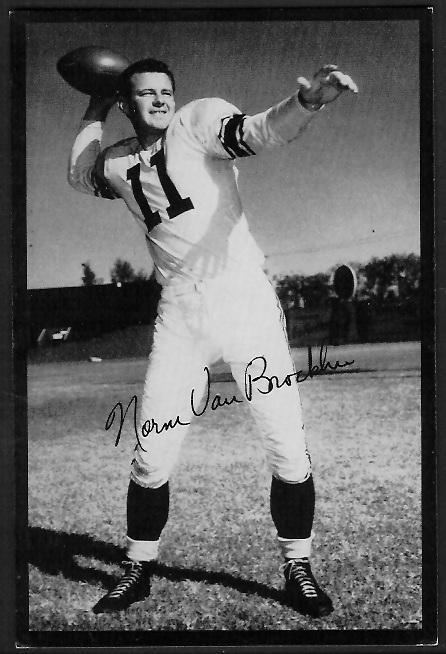 Norm Van Brocklin 1955 Rams Team Issue football card