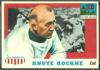 Knute Rockne 1955 Topps All-American football card
