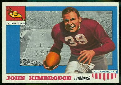 John Kimbrough 1955 Topps All-American football card