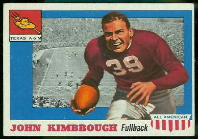 John Kimbrough 1955 Topps All-American football card