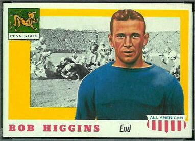 Bob Higgins 1955 Topps All-American football card