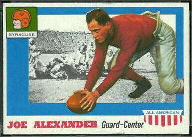 Joe Alexander 1955 Topps All-American football card