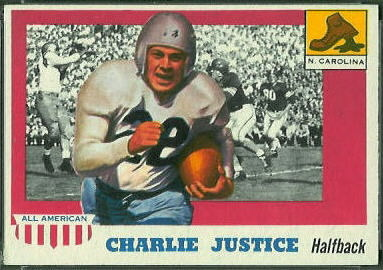 Charlie Justice 1955 Topps All-American football card