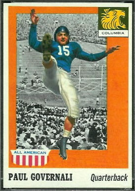Paul Governali 1955 Topps All-American football card