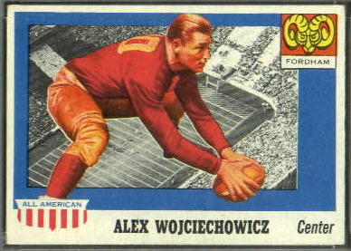 Alex Wojciechowicz 1955 Topps All-American football card