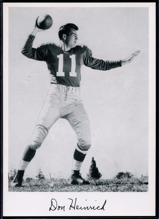 Don Heinrich 1956 Giants Team Issue football card