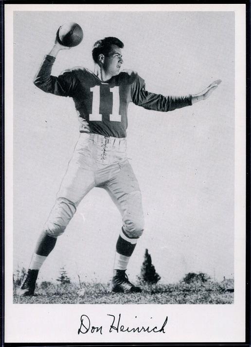 Don Heinrich 1956 Giants Team Issue football card