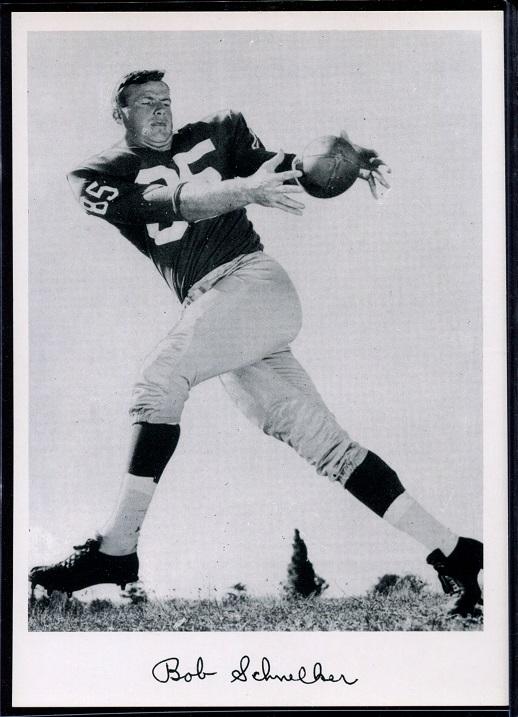 Bob Schnelker 1956 Giants Team Issue football card