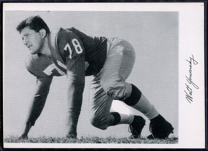 Walt Yowarsky 1956 Giants Team Issue football card