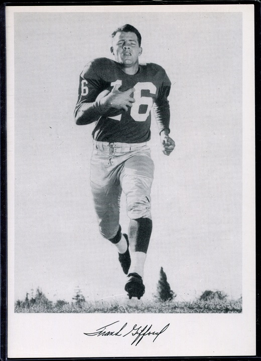 Frank Gifford 1956 Giants Team Issue football card