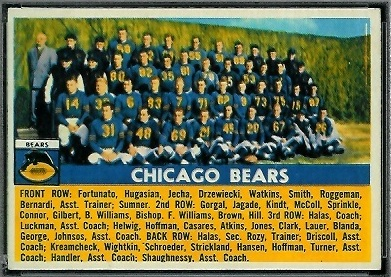 1956 Topps Chicago Bears team football card