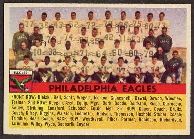 Philadelphia Eagles Team 1956 Topps football card