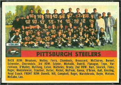 1956 Topps Pittsburgh Steelers team football card