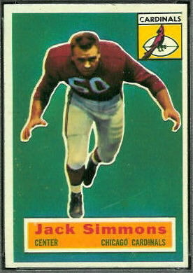 Jack Simmons 1956 Topps football card