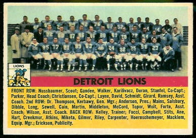 1956 Topps Detroit Lions team football card