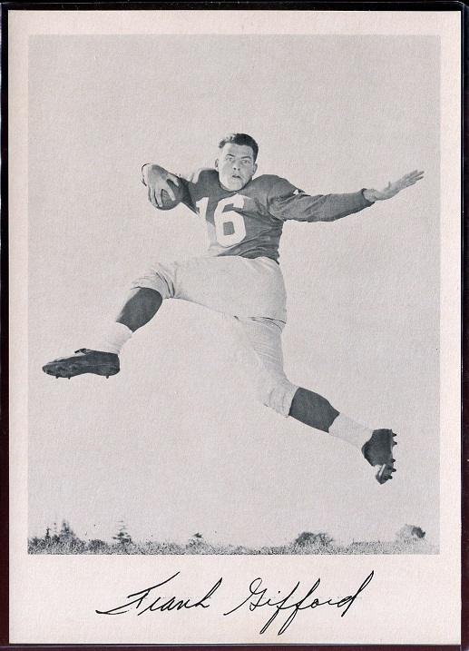 Frank Gifford 1957 Giants Team Issue football card