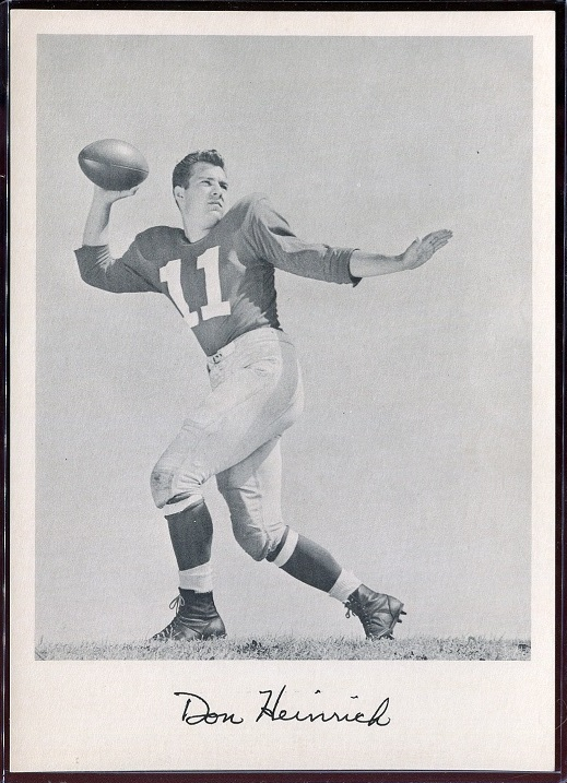 Don Heinrich 1957 Giants Team Issue football card