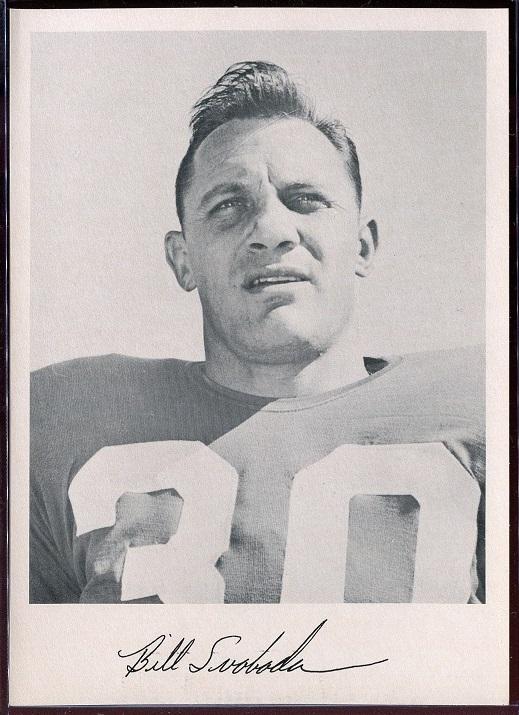 Bill Svoboda 1957 Giants Team Issue football card