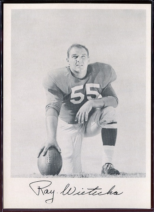 Ray Wietecha 1957 Giants Team Issue football card
