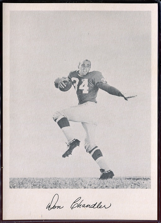 Don Chandler 1957 Giants Team Issue football card