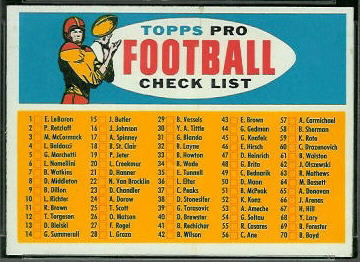 Checklist 1957 Topps football card
